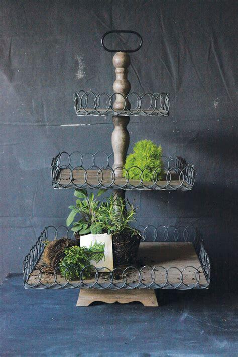 fantastic wood  metal  tiered pedestal vintage american home
