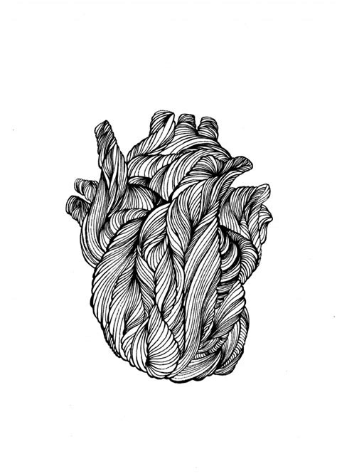 Hand drawn doodle human heart. line heart for tattoo Vector | Premium Download