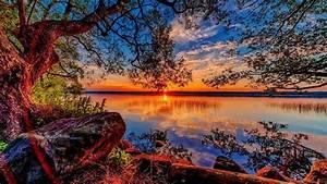 Beautiful Hd Wallpaper Sunset Lake Willow Stones 84318 ...