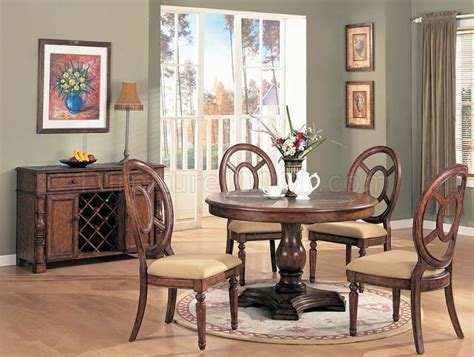 distressed natural wood dining room set wround table