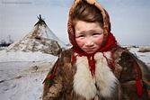 A Nenet child at her family's winter camp, Yamal Peninsula ...