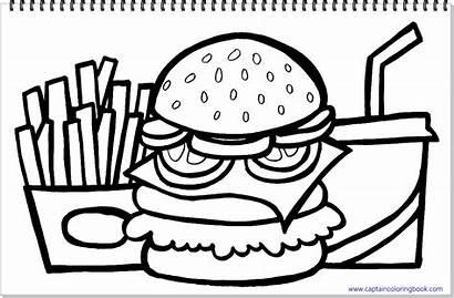 Hamburger Fries Coloring French Drink Drawing Title