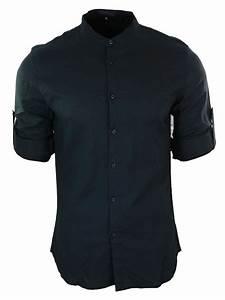 Chemise Homme Col Rond : chemise homme col rond style indien en lin coupe slim manches longues a rouler ebay ~ Voncanada.com Idées de Décoration