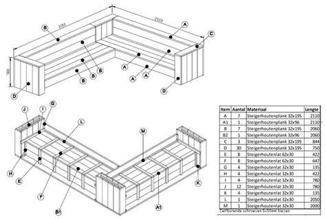 hoekbank steigerhout zelf maken tekening bouwtekening hoekbank steigerhout nodig