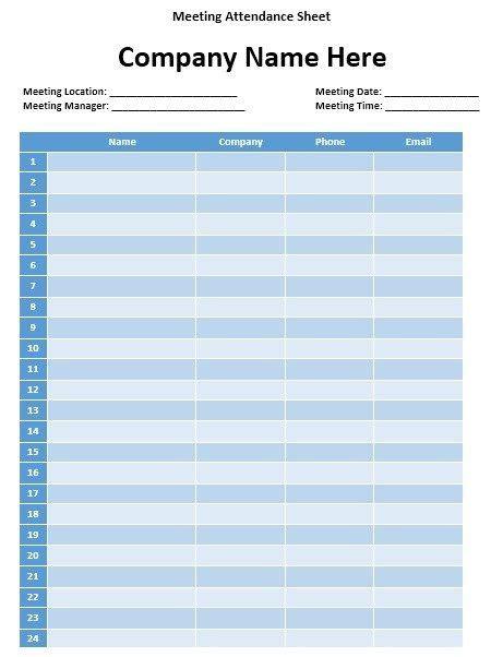 meeting attendance sheet templates attendance