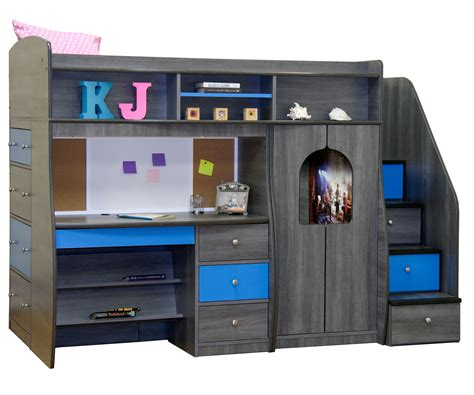 bunk beds with built in desk and drawers dark gray laminated particle wood bunk beds with stairs
