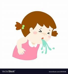 Sick Girl Vomiting Cartoon Royalty Free Vector Image