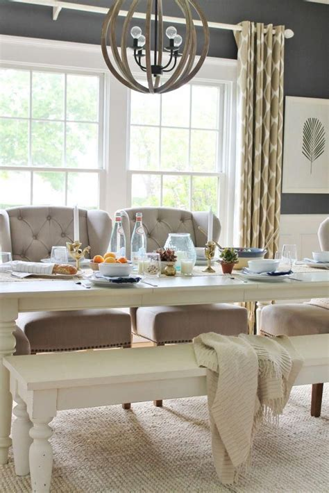 These wall decor ideas will bring life to your empty walls. Summer Tour-Dining Room-Navy Blue Walls & Ikat Drapes #summerdecorationwall | Wall decor living ...