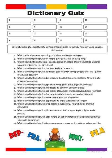 bid dictionary dictionary quiz 1 worksheet free esl printable