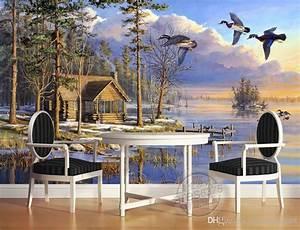 3d Tapete Wald : gro handel benutzerdefinierte foto luxus 3d stereoskopische tapete fliegen vogel wald see ~ Frokenaadalensverden.com Haus und Dekorationen