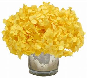 Mercury Glass Votive, Yellow Hydrangea - Transitional