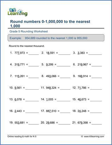 grade 5 place value worksheet round 6 digit numbers to the