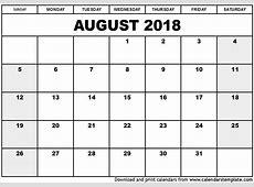 August 2018 Calendar 2019 calendar template