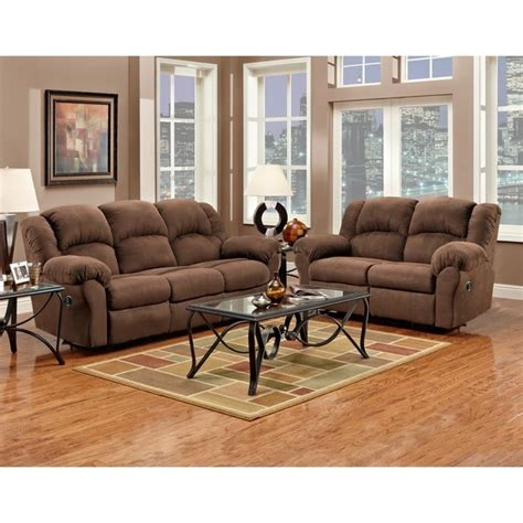 Reclining Microfiber Sofa And Loveseat Set shop aruba chocolate microfiber dual reclining sofa and