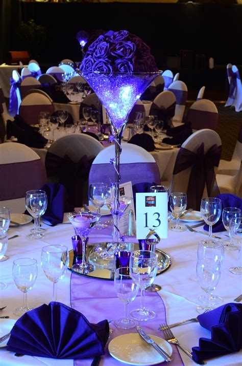 Martini Vase Table Centrepiece In Purple With Lights