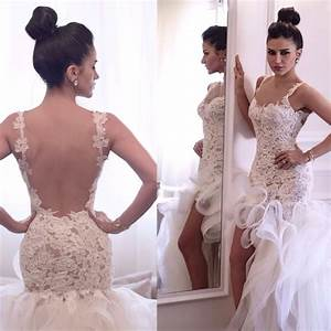 new arrival spaghetti straps sexy backless lace high low With short backless wedding dress