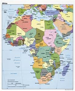 Large political map of Africa with capitals and major ...