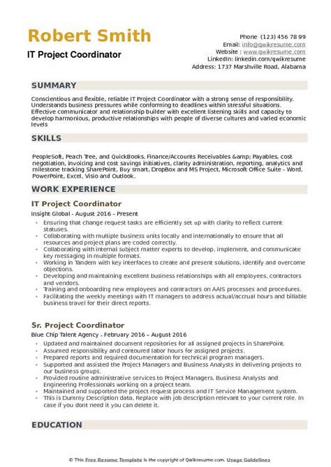 Project Coordinator Resume by It Project Coordinator Resume Sles Qwikresume