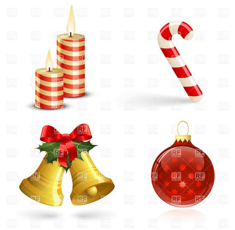 christmas tree decorations bells candles and candy cane