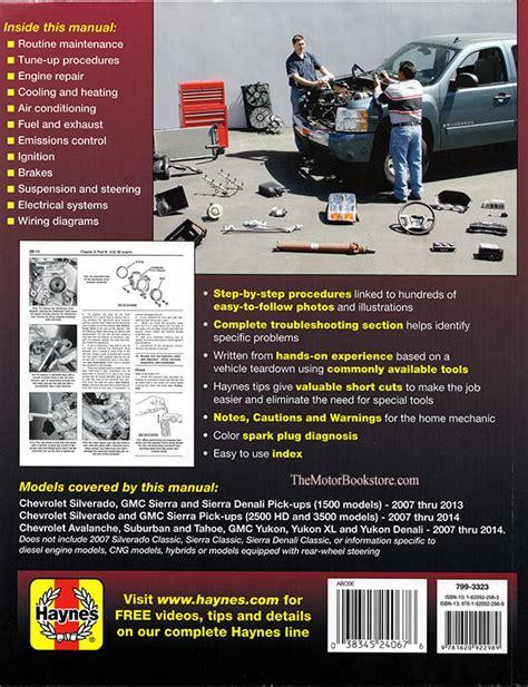 car repair manuals online pdf 2013 gmc yukon parental controls 2007 2013 chevy silverado repair manual haynes
