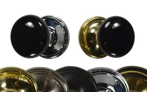 mixed finish black porcelain door knob victorian plate