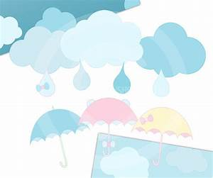 Items similar to Umbrella clipart Clouds clip art ...
