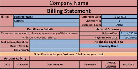 billing statement excel template exceldatapro