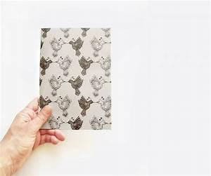 Black And White Journal, Bird Pattern Notebook, Minimal ...