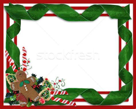 christmas border ribbons  treats design stock photo