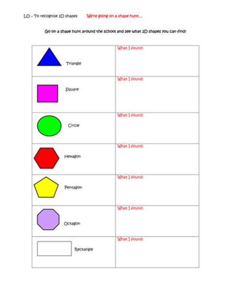 Treasure Hunt Template Tes by 2d Shape Hunt By Bect Teaching Resources Tes