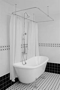 "tubs and showers HLBT59SHPK 59"" Hotel Collection French Bateau Clawfoot Tub and Shower Pack"