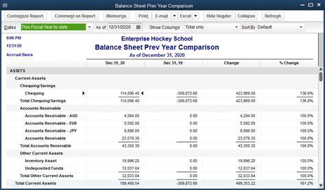 schedule the quickbooks balance sheet prev year comparison