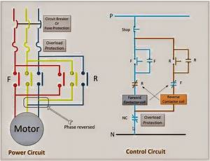 Power  U0026 Control Circuit For Forward And Reverse Motor
