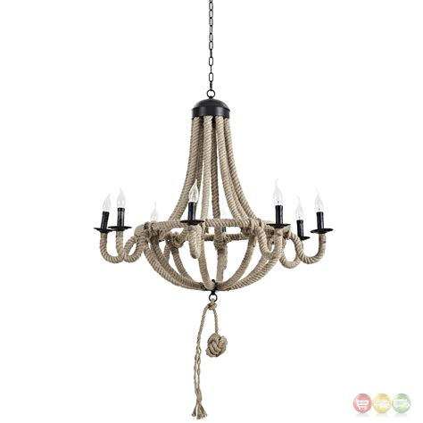 Brown Chandeliers by Coronet Rustic 8 Bulb Chandelier With Rope Cord Steel