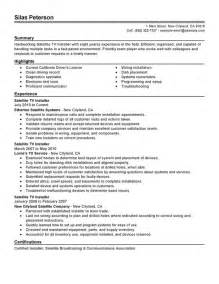 Tv Resume Templates by Unforgettable Satellite Tv Installer Resume Exles To
