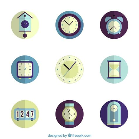 Collection D'icônes D'horloge  Télécharger Des Vecteurs