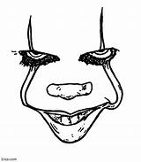 Pennywise Coloring Pages Printable Clown Adults Face Horror sketch template