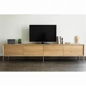 Grand Meuble Tv : grand meuble tv 2 tiroirs 2 portes en chne massif kimberley ~ Teatrodelosmanantiales.com Idées de Décoration