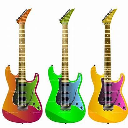 Guitar Electric Clip Clipart Rock Guitars Colorful