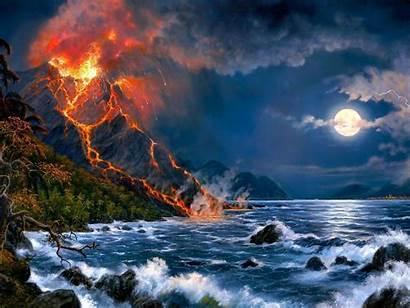 Moon Volcano Desktop Sea Fantasy Eruption Wallpapers13