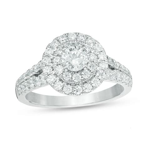 love s destiny by zales 1 1 4 ct t w certified diamond double frame engagement ring in 14k