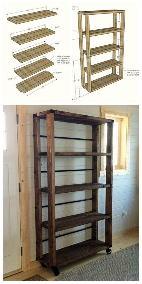 reclaimed wood rolling shelf bookshelves diy easy