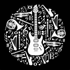 Black And White Love For Music Background Stock Vector ...