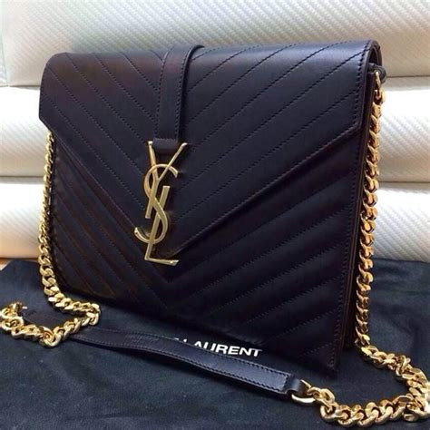 saint laurentlarge monogramme chain bag  black