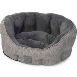 house of paws hessian plush oval dog bed grey 18in on sale