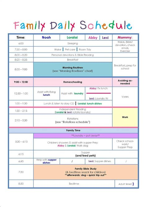 family routine schedule family daily