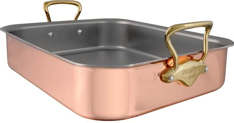 mauviel  mb copper roasting pan  rack   ply construction high performance