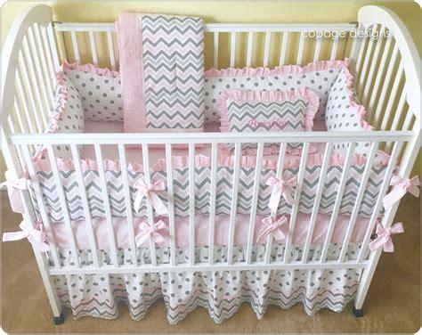 grey crib bumper pink and gray chevron crib bedding set baby crib