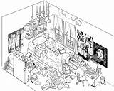 Drawing Perspective Bedroom Point Drawings Eye Birds Children Clean Pages Messy Coloring Cartoon Sketch Kitchen Wall Getdrawings Template Baha Class sketch template