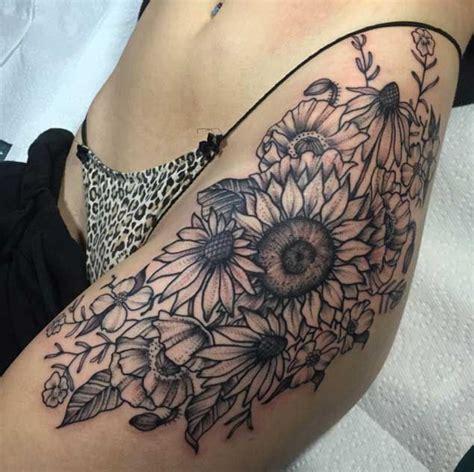 sunflower hip tattoo tattoos  women pinterest   side  women  flower